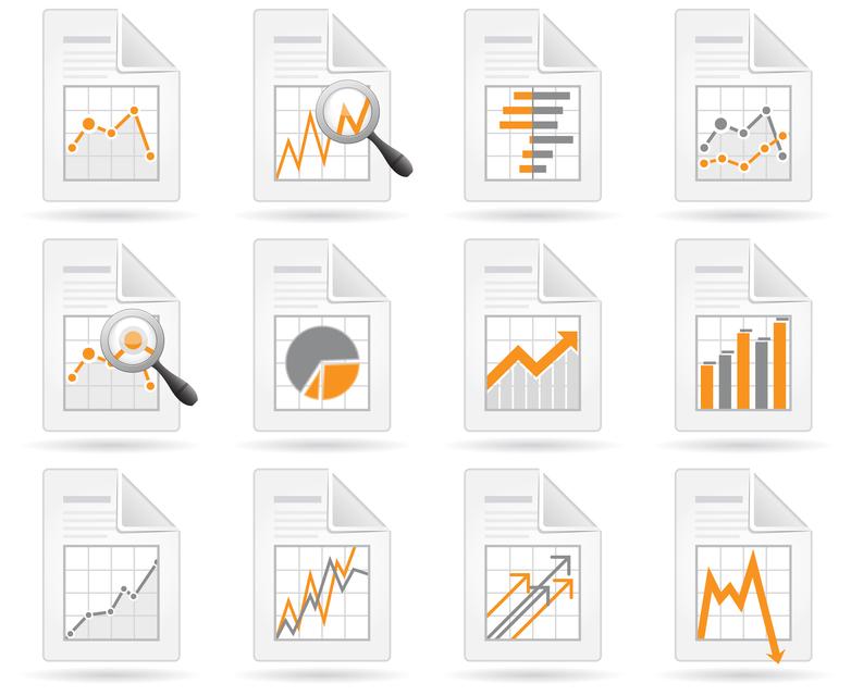 Statistics and analytics file icons