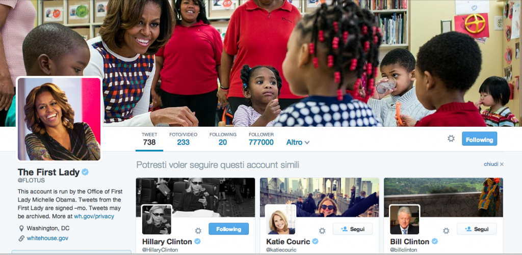 Twitter Profile di Michelle Obama